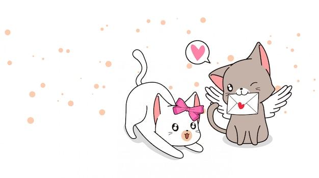 ラブレターとガールフレンドと愛らしいキューピッド猫 Premiumベクター