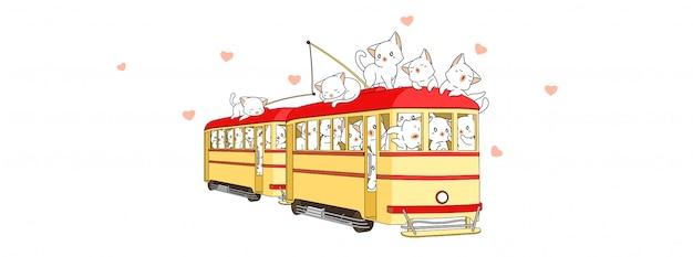 Очаровательные кошки в трамвае во время летних каникул Premium векторы