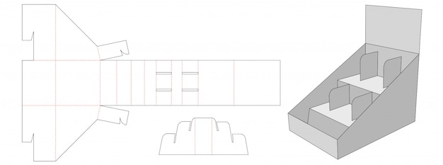 Дисплей полки высечки шаблон дизайна Premium векторы