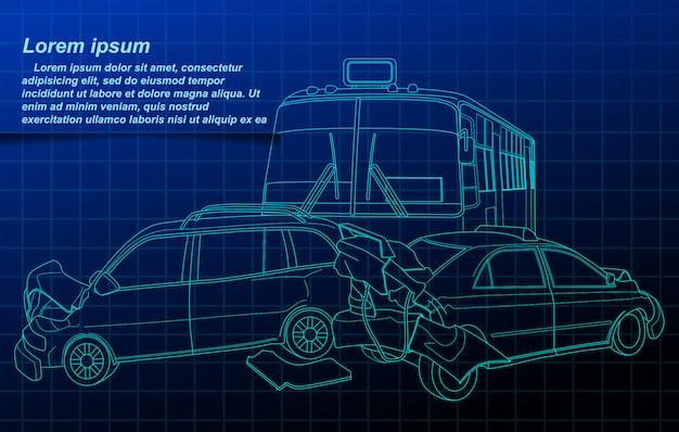 青写真の背景に事故の概要。 Premiumベクター