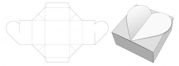 Сердце упаковочная коробка высечки шаблон Premium векторы