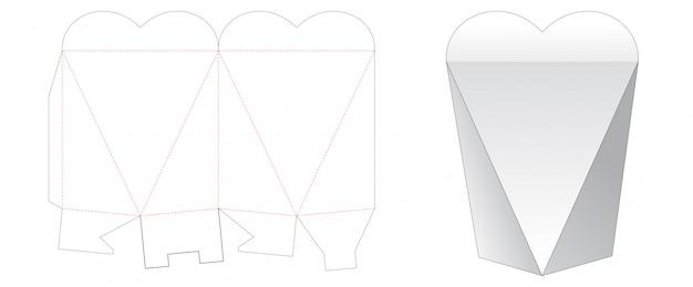 Шаблон для вырезания подарочной коробки в форме сердца Premium векторы