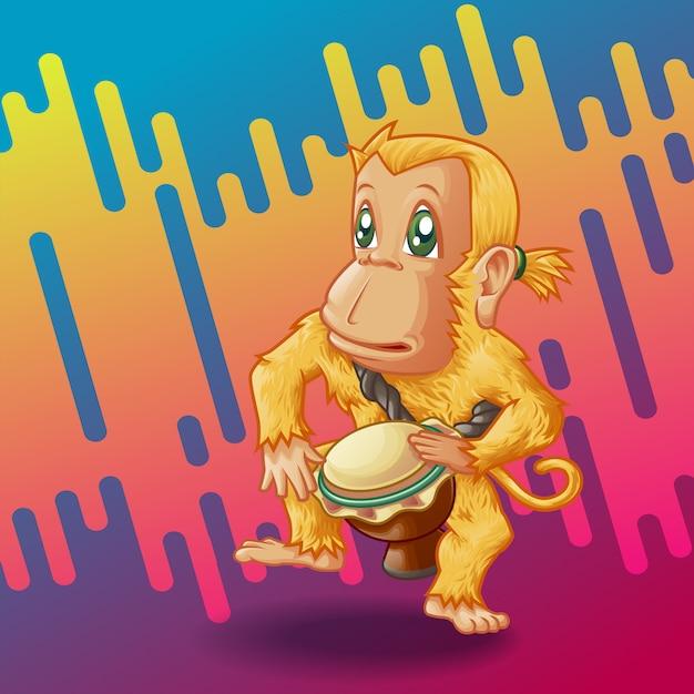 Барабанщик обезьяна. Premium векторы