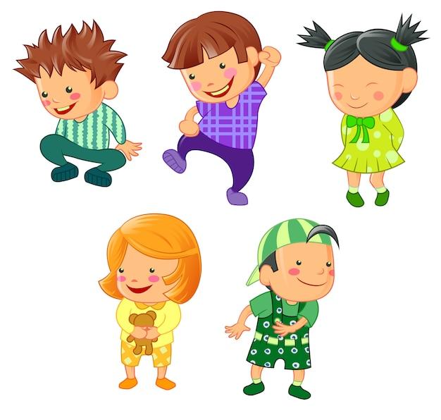 漫画のスタイルでさまざまな子供たち。 Premiumベクター