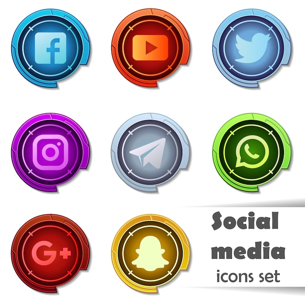 Иконки социальных медиа. Premium векторы