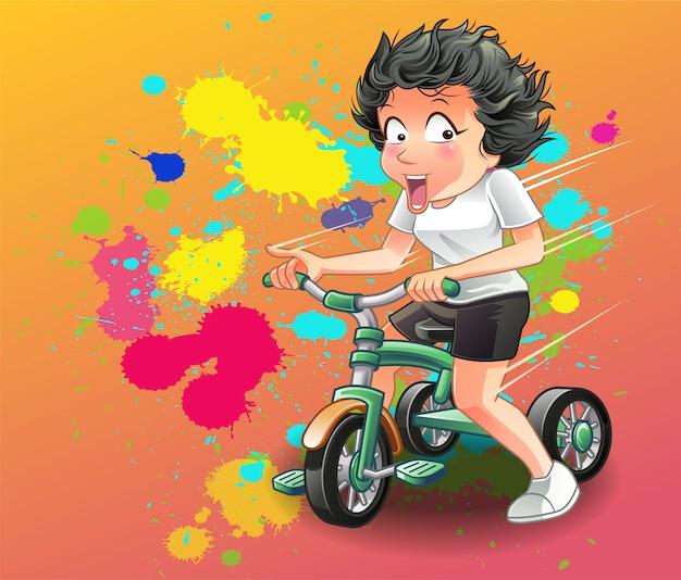彼女は三輪車に乗っています。 Premiumベクター