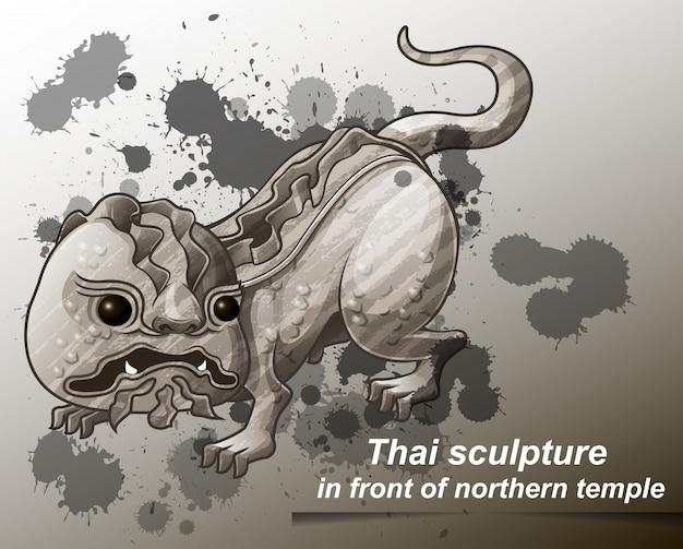漫画のスタイルで北の寺院の前にタイの彫刻。 Premiumベクター