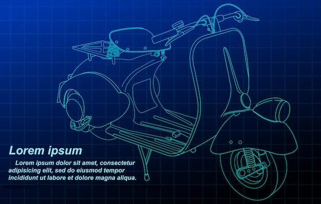 青写真の背景に車のスケッチ。 Premiumベクター