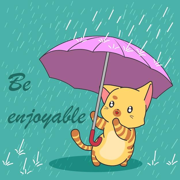 Милый кот в сезон муссонов. Premium векторы