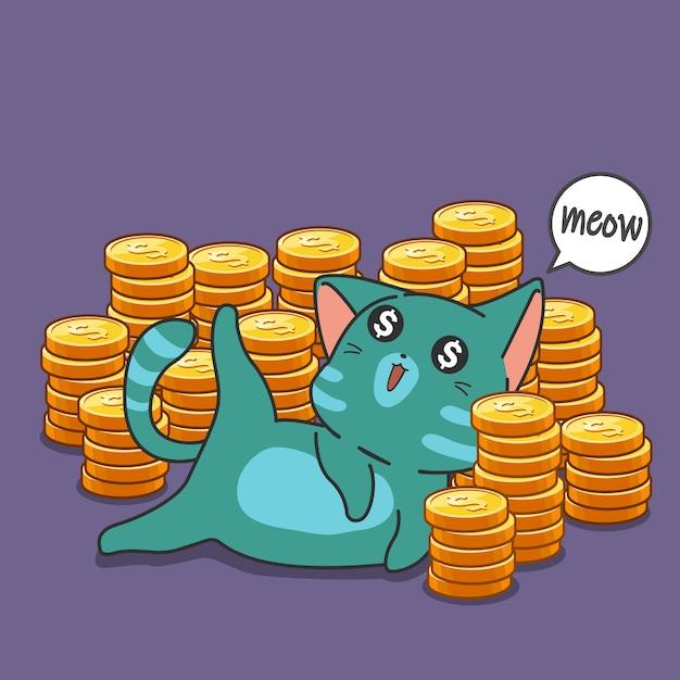Миллионер кошка и монеты. Premium векторы