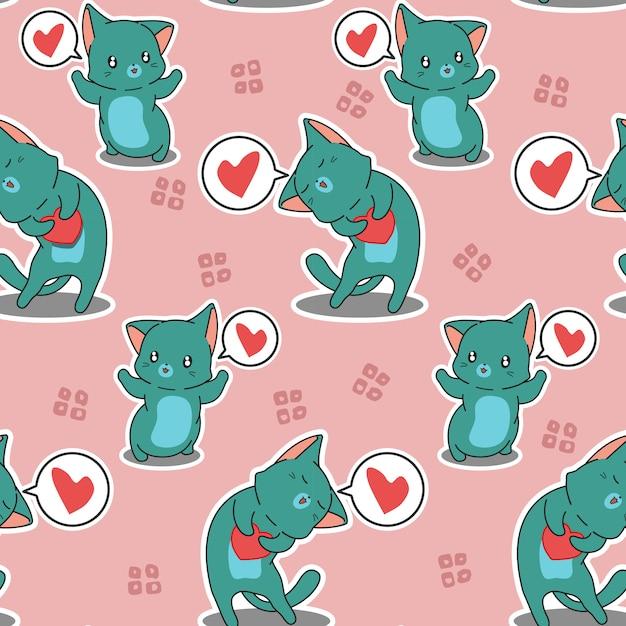 シームレスパターンの猫があなたを愛しています Premiumベクター