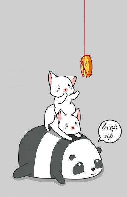 パンダと猫がコインをキャッチしています。 Premiumベクター
