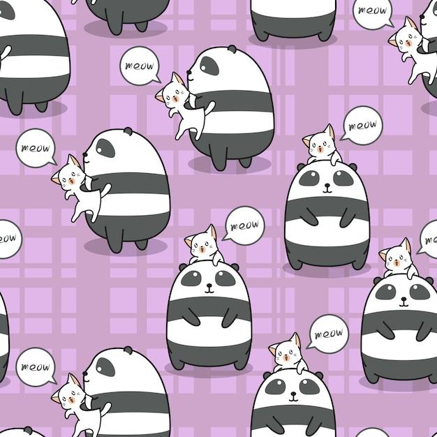 シームレスなパンダと猫はお互いのパターンの親友です。 Premiumベクター