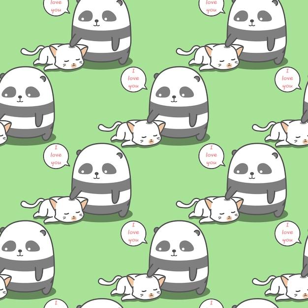 Бесшовные панда любит рисунок кошки. Premium векторы