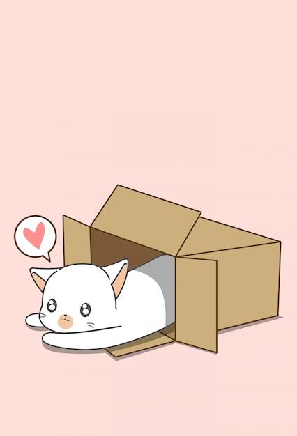 漫画のスタイルのボックス内の小さな白猫。 Premiumベクター
