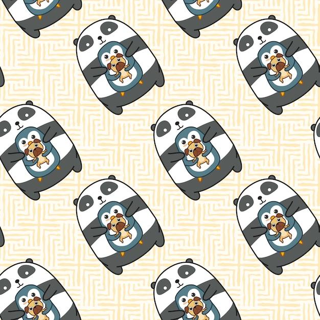 Бесшовный образец пингвина панды и собаки. Premium векторы