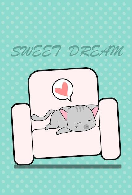 Спящая кошка на диване в мультяшном стиле. Premium векторы