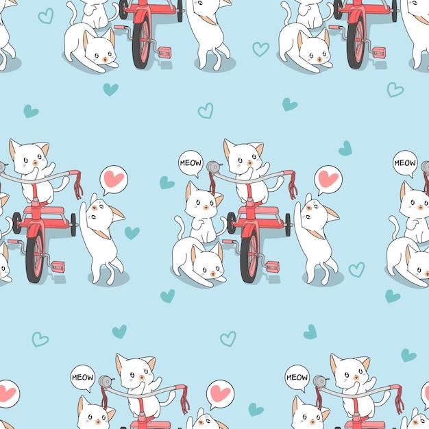 Бесшовные каваий кошек с рисунком трехколесный велосипед. Premium векторы
