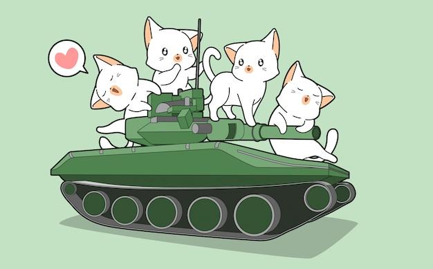 Симпатичные коты и военные танки Premium векторы