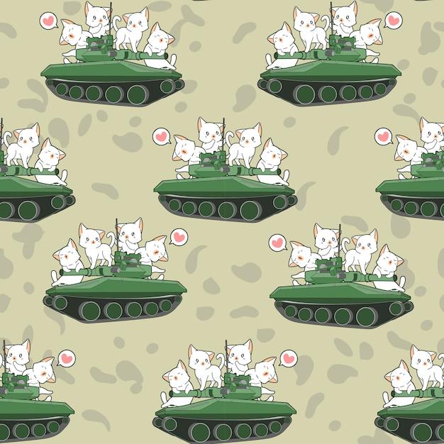 Безшовная милая картина котов и военных танков Premium векторы