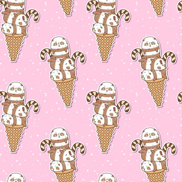 アイスクリームコーンのパターンでシームレスなかわいいパンダ Premiumベクター