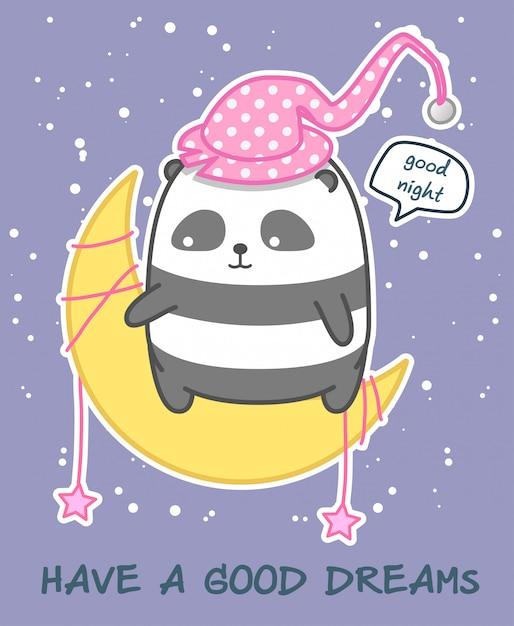 月のカワイイパンダはおやすみを言う Premiumベクター