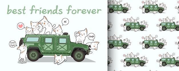 Бесшовные каваий кошка и военный автомобиль Premium векторы
