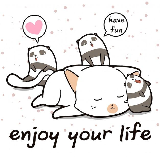 漫画のスタイルでかわいい猫とパンダの文字 Premiumベクター