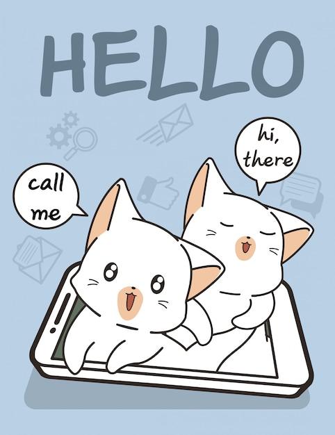 スマートフォンの技術を備えたかわいい猫 Premiumベクター