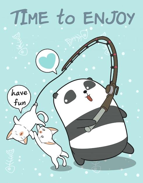Рыбак панда и милый персонаж кошек Premium векторы