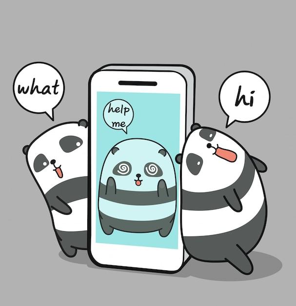 携帯電話でかわいいパンダの囚人 Premiumベクター