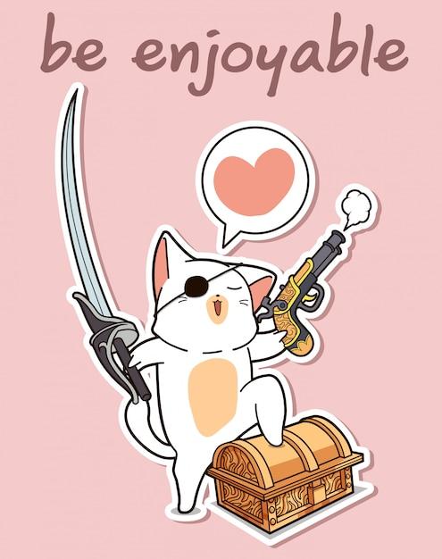 かわいい海賊猫の漫画のキャラクター Premiumベクター