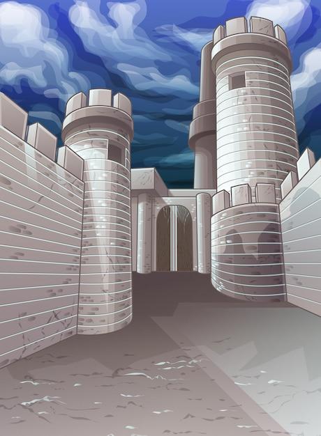 要塞と空のベクトルの背景。 Premiumベクター