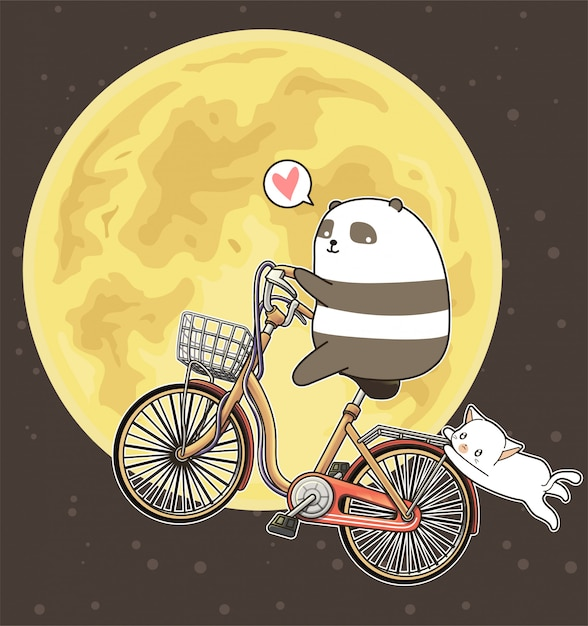 かわいいパンダは月の背景に自転車に乗っています Premiumベクター