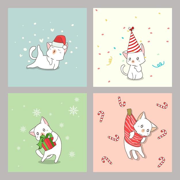 クリスマスの日に手描きのかわいい猫カード Premiumベクター