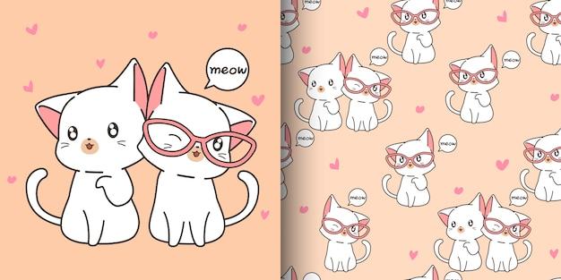 シームレスなかわいい猫パターン Premiumベクター