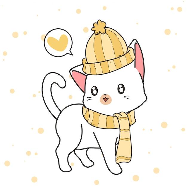 Нарисованный рукой кот каваи носит шляпу и шарф Premium векторы