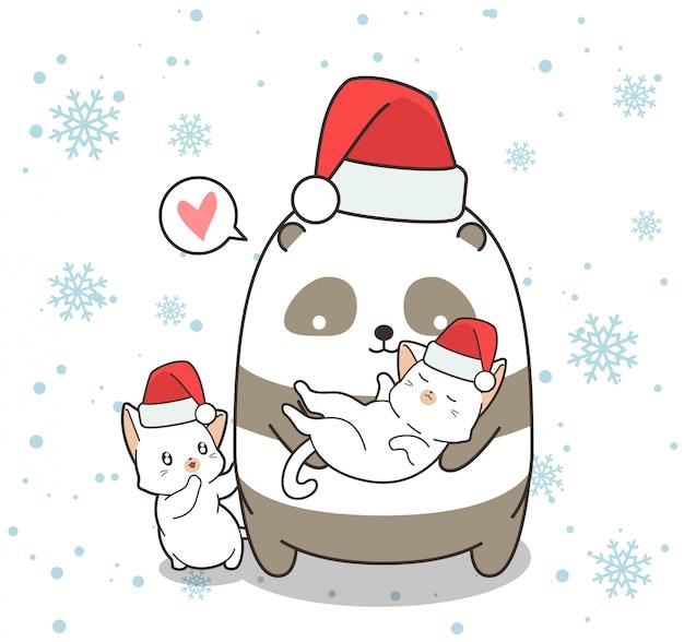 クリスマスの日のかわいいパンダと猫のキャラクター Premiumベクター