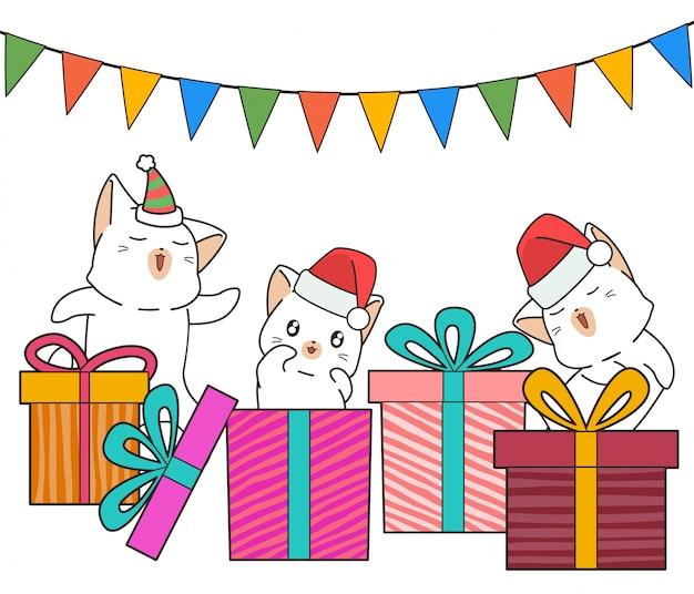 パーティーの愛らしい猫のキャラクターとギフトボックス Premiumベクター