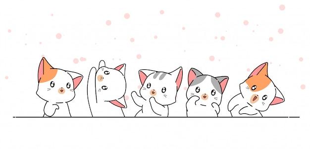 Нарисованные от руки милые иероглифы каваий кошки Premium векторы