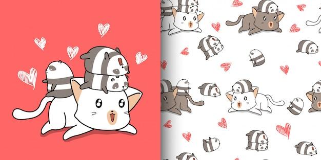 Бесшовные каваи большой кот и маленькие панды Premium векторы
