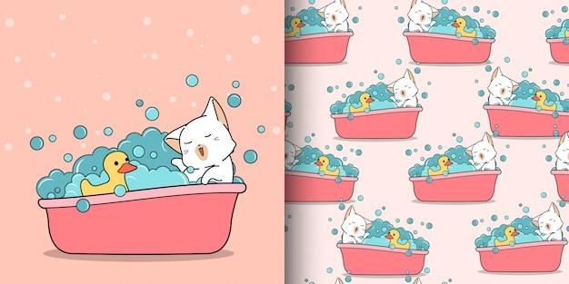 Бесшовные каваи кошка купается с уткой Premium векторы