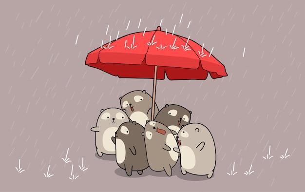 雨の季節に手描きのかわいいクマ Premiumベクター