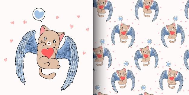 シームレスパターン手描きかわいいキューピッド猫はバレンタインの日に心を保持しています。 Premiumベクター