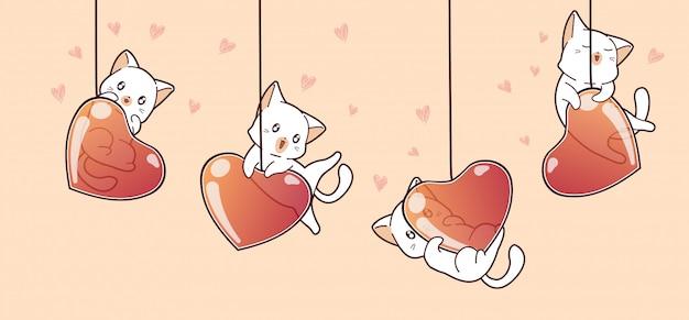 バレンタインデーに愛らしい猫とハートの風船をバナーします。 Premiumベクター
