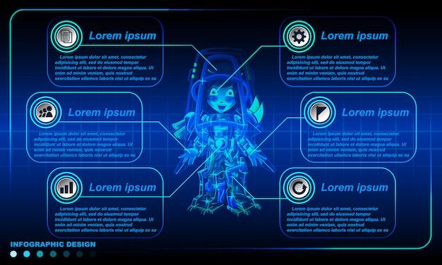 Роботизированная инфографика дизайн шаблона. Premium векторы