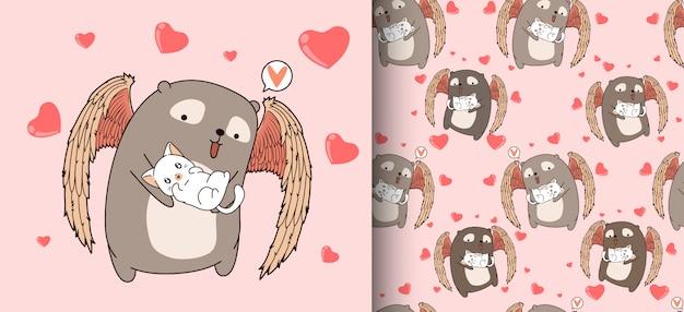 シームレスパターン漫画愛らしいキューピッドクマはハグ猫 Premiumベクター