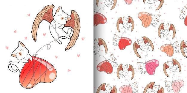 ハート形風船とのシームレスなパターンかわいいキューピッド猫 Premiumベクター