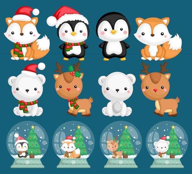 Животные снежные шары Premium векторы