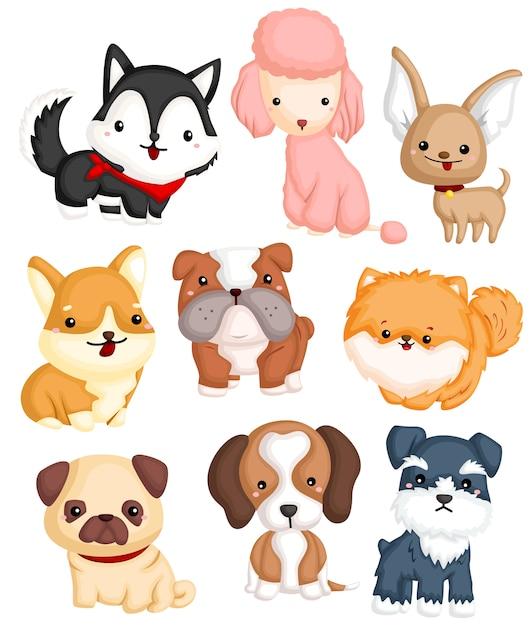 Набор векторных собак типа Premium векторы